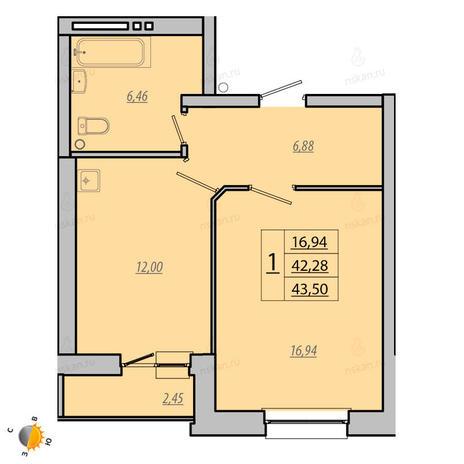 Вариант №1928, 1-комнатная квартира в жилом комплексе Лазурит