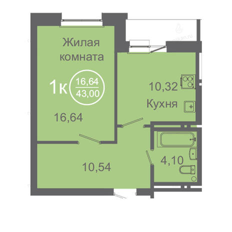 Вариант №2425, 1-комнатная квартира в жилом комплексе