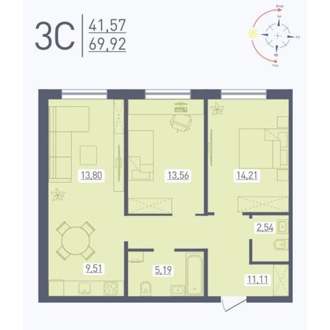Вариант №5579, 3-комнатная квартира в жилом комплексе