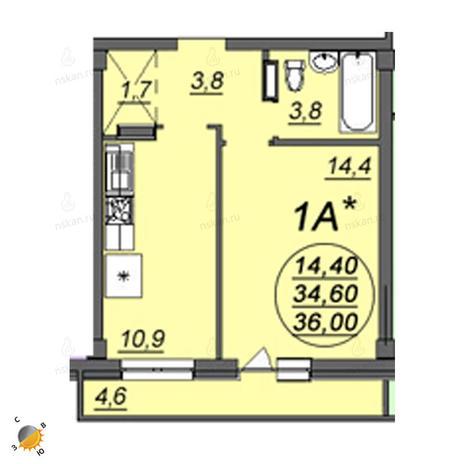 Вариант №2348, 1-комнатная квартира в жилом комплексе Аэропорт