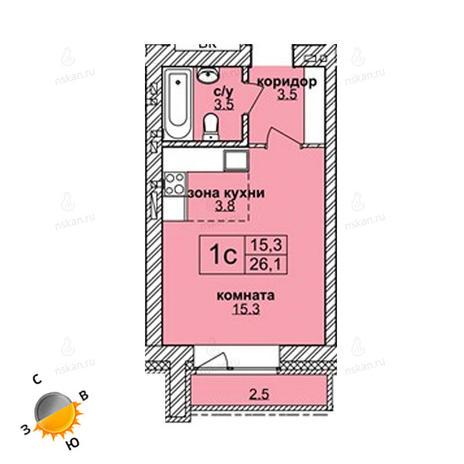 Вариант №1602, 1-комнатная квартира в жилом комплексе Акварельный 3.0
