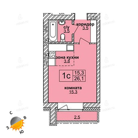 Вариант №1602, 1-комнатная квартира в жилом комплексе