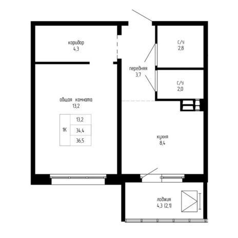 Вариант №5194, 1-комнатная квартира в жилом комплексе