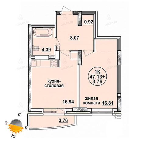 Вариант №1326, 2-комнатная квартира в жилом комплексе Заельцовский