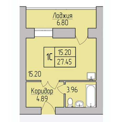 Вариант №5374, 1-комнатная квартира в жилом комплексе