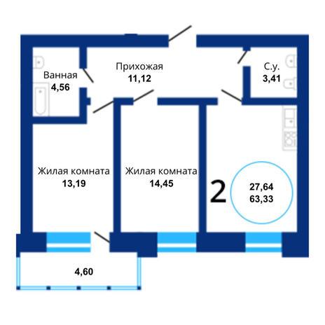 Вариант №3812, 3-комнатная квартира в жилом комплексе