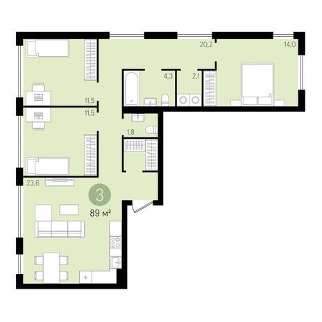 Вариант №3431, 4-комнатная квартира в жилом комплексе
