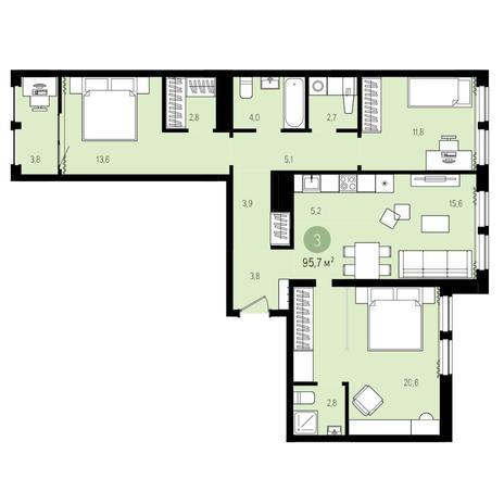 Вариант №4962, 4-комнатная квартира в жилом комплексе Пшеница