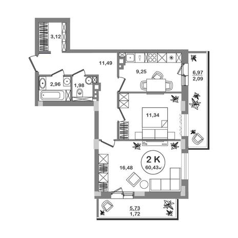 Вариант №5204, 2-комнатная квартира в жилом комплексе