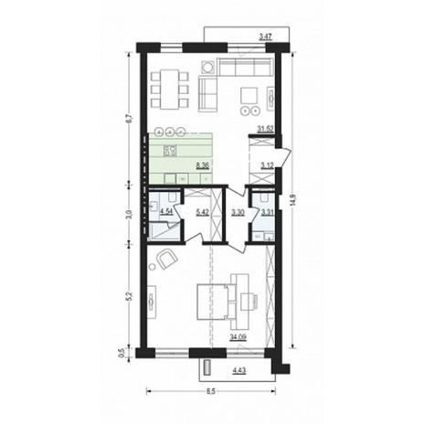 Вариант №4895, 2-комнатная квартира в жилом комплексе Жуковка