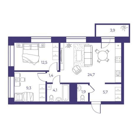 Вариант №5312, 3-комнатная квартира в жилом комплексе Пшеница