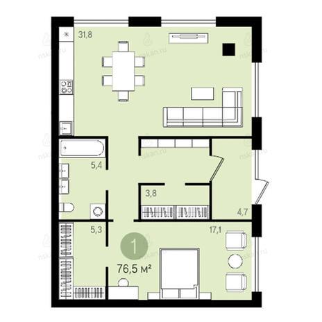 Вариант №2618, 2-комнатная квартира в жилом комплексе Оазис