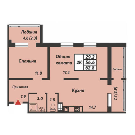 Вариант №3696, 2-комнатная квартира в жилом комплексе
