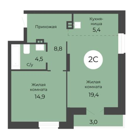 Вариант №5686, 2-комнатная квартира в жилом комплексе