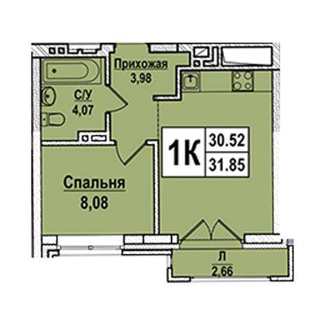 Вариант №2944, 2-комнатная квартира в жилом комплексе Чистая Слобода