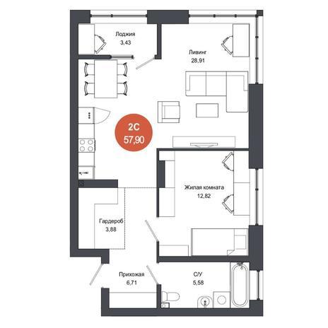 Вариант №4568, 2-комнатная квартира в жилом комплексе Тихомиров