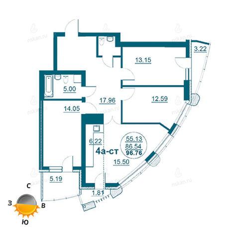 Вариант №966, 4-комнатная квартира в жилом комплексе Флотилия
