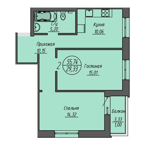 Вариант №3199, 2-комнатная квартира в жилом комплексе