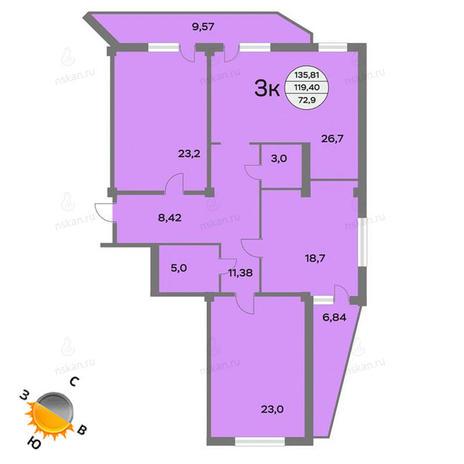 Вариант №1441, 4-комнатная квартира в жилом комплексе