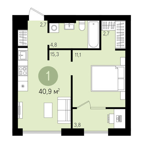 Вариант №3003, 2-комнатная квартира в жилом комплексе