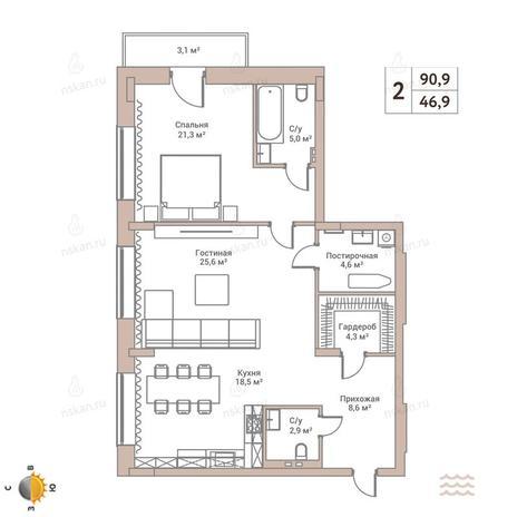 Вариант №2430, 2-комнатная квартира в жилом комплексе