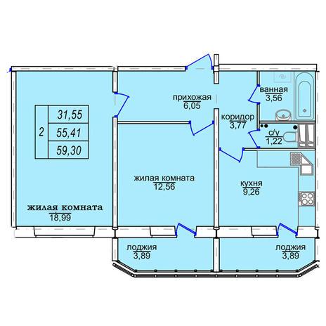 Вариант №3858, 2-комнатная квартира в жилом комплексе Софийский квартал