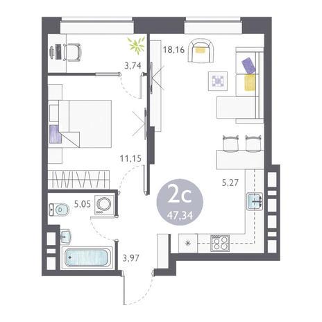 Вариант №3359, 2-комнатная квартира в жилом комплексе Ясный берег