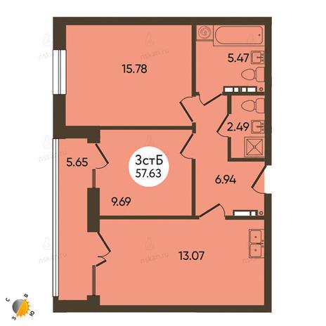 Вариант №2106, 3-комнатная квартира в жилом комплексе История