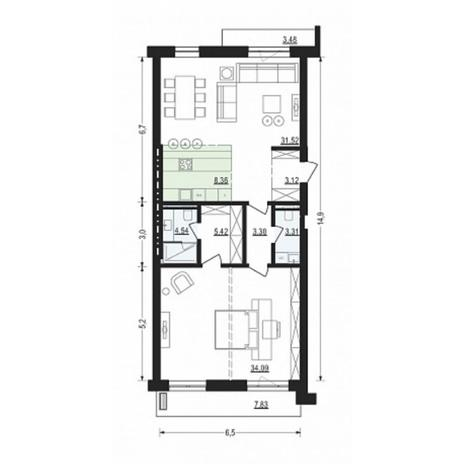 Вариант №4896, 2-комнатная квартира в жилом комплексе