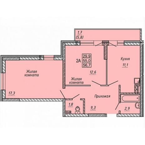 Вариант №5314, 2-комнатная квартира в жилом комплексе