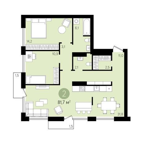 Вариант №3294, 2-комнатная квартира в жилом комплексе