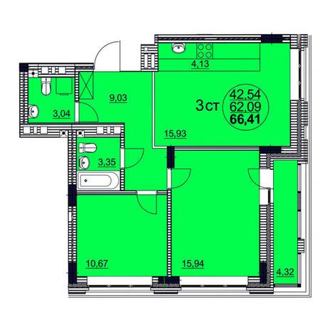 Вариант №3760, 3-комнатная квартира в жилом комплексе