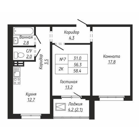 Вариант №6661, 2-комнатная квартира в жилом комплексе