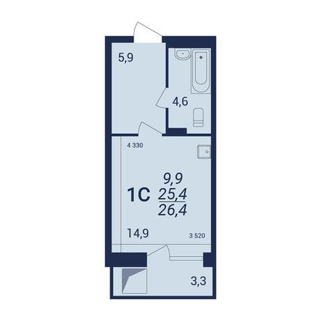 Вариант №3923, 1-комнатная квартира в жилом комплексе NOVA-дом