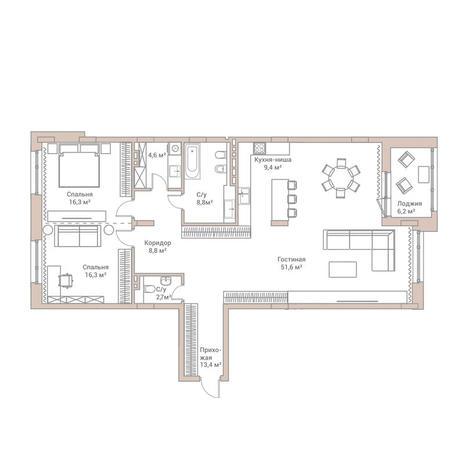 Вариант №3575, 3-комнатная квартира в жилом комплексе