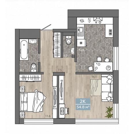 Вариант №4533, 2-комнатная квартира в жилом комплексе Спектр