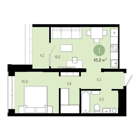 Вариант №4850, 2-комнатная квартира в жилом комплексе