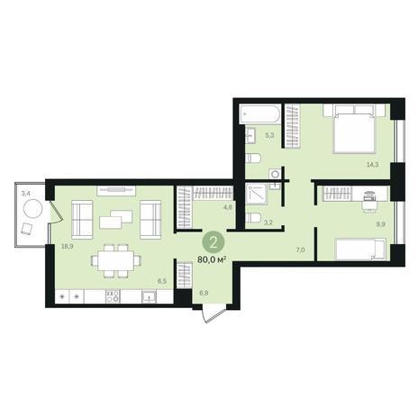 Вариант №6344, 3-комнатная квартира в жилом комплексе