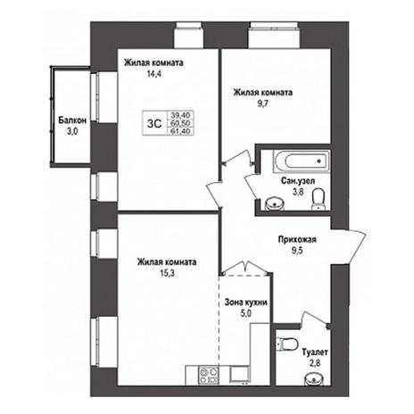 Вариант №3147, 3-комнатная квартира в жилом комплексе