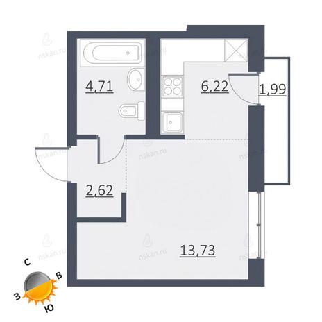 Вариант №1632, 1-комнатная квартира в жилом комплексе Дунаевский