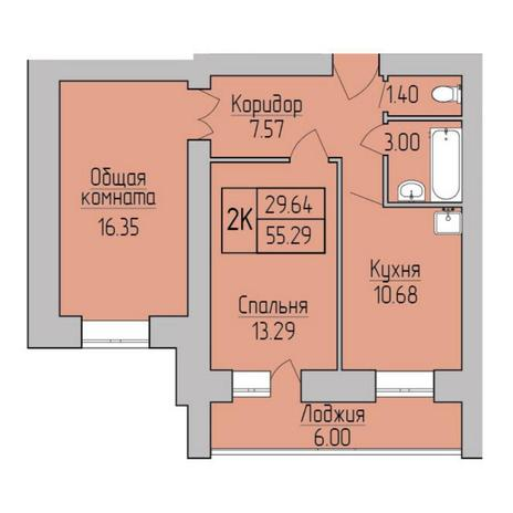 Вариант №5355, 2-комнатная квартира в жилом комплексе Матрешкин двор