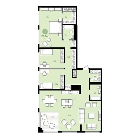 Вариант №5532, 5-комнатная квартира в жилом комплексе