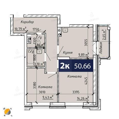 Вариант №1857, 2-комнатная квартира в жилом комплексе На Лежена