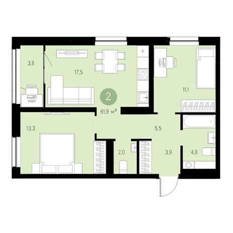 Вариант №4655, 3-комнатная квартира в жилом комплексе Европейский Берег