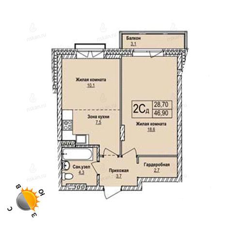Вариант №1249, 2-комнатная квартира в жилом комплексе Чистая Слобода