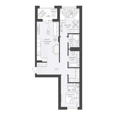 Вариант №6220, 3-комнатная квартира в жилом комплексе