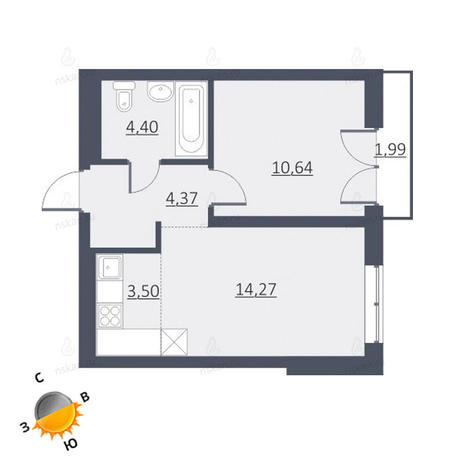 Вариант №1648, 1-комнатная квартира в жилом комплексе