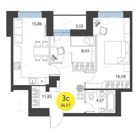 Вариант №2778, 3-комнатная квартира в жилом комплексе Ясный берег