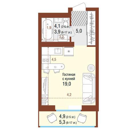 Вариант №4204, 1-комнатная квартира в жилом комплексе
