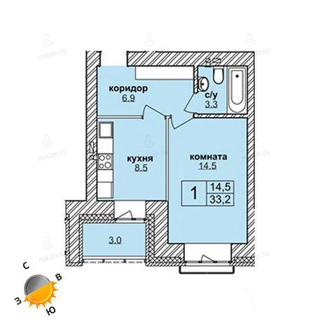 Вариант №1618, 1-комнатная квартира в жилом комплексе